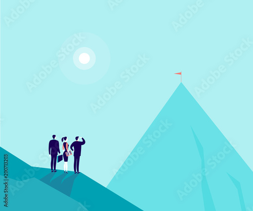 Foto op Plexiglas Lichtblauw Vector business concept illustration with businessmen, woman standing on mountain pic and watching at new top. Metaphor for growth, new aims & goals, team work & partnership, aspirations, motivation.