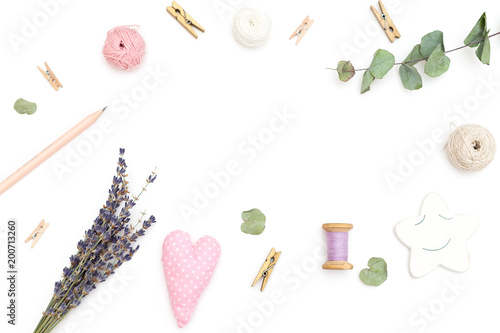 Foto Murales Objects for decoration on a white background in the shape of a frame. Flat lay