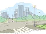 Street road graphic color city landscape sketch illustration vector - 200713607