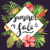 Summer Sale. Lettering on tropical leaves and exotic flowers - 200720066