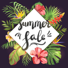 Summer Sale. Lettering on tropical leaves and exotic flowers