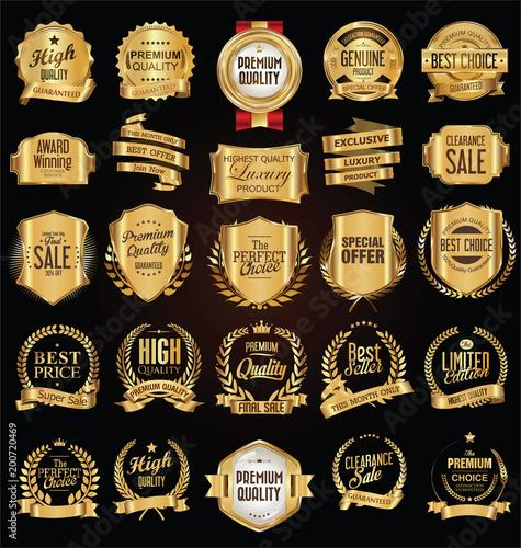 Złote etykietki i odznaki wektorowa ilustracyjna kolekcja