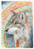 The head of a wolf on the background of mandalas, watercolor - 200724410