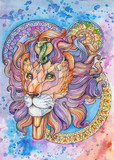 Drawing of a lion's head, watercolor, mandalas, tattoo - 200725633