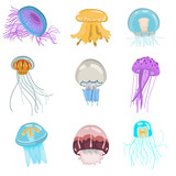 Set of different color flat jellyfish icons - 200725699