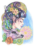 Beautiful woman with a deer on a background of mandalas and flow - 200725882