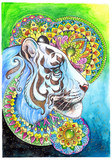 The head of a white tiger on a background of mandalas - 200726406