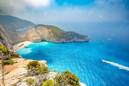 Fotobehang Schipbreuk Idyllic view of beautiful Navagio Beach on Zakynthos Island in Greece