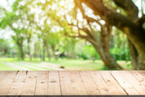 Empty wood table and defocused bokeh and blur background of garden trees in sunlight, display montage for product. - 200730257