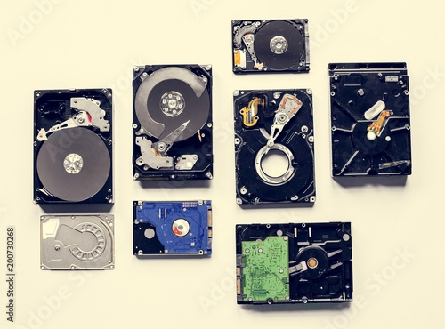 HDD portable data storage isolated on background