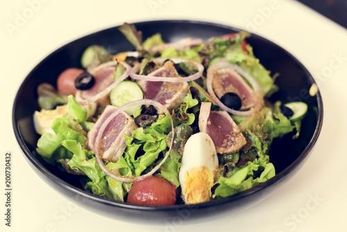 Foto Murales Healthy appetizer vegetable salad plate