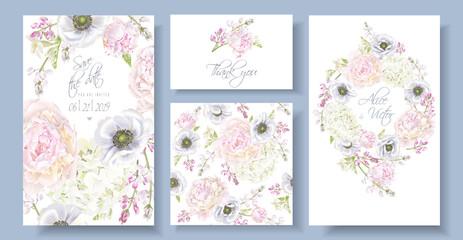 Peony anemone invitation set