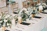 Wedding table decor in white green tones - 200733487