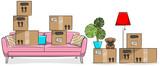Umzug Kartons mit Couch, Hund und Einrichtungsgegenständen Zeichnung isoliert - 200737086