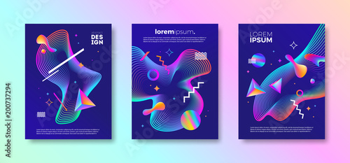 Poster Set of cover design with abstract multicolored different shapes. Vector illustration template. Universal abstract design for covers, flyers, banners, greeting card, booklet and brochure.