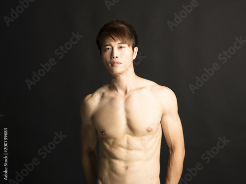 asian young man with fitness body
