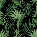Seamless pattern with tropical leaves. Background for banner, cards. Printing on fabric and paper. Vector illustration.