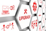 UPGRADE concept cell blurred background 3d illustration