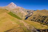 Mount Kazbegi is a popular natural attraction near Stepansminda village, Georgia