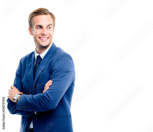 Foto Murales Happy young businessman, isolated