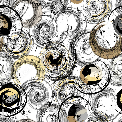 Fotobehang Abstract met Penseelstreken seamless background pattern, with circles, strokes and splashes, black and white, grungy