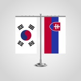 Table stand with flags of South Korea and Slovakia.Two flag. Flag pole. Symbolizing the cooperation between the two countries. Table flags