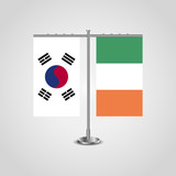 Table stand with flags of South Korea and Ireland.Two flag. Flag pole. Symbolizing the cooperation between the two countries. Table flags