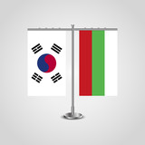 Table stand with flags of South Korea and Bulgaria.Two flag. Flag pole. Symbolizing the cooperation between the two countries. Table flags - 200751284
