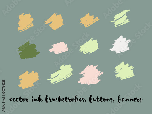 Trendy Paint Vector Brush Strokes. Brown Ink Splats, Banners, Chocolate Smears. Hipster Graffiti Ads Borders, Vintage Paintbrush Doodles. Tasty Chocolate Smears, Trendy Paint Vector Brush Strokes.