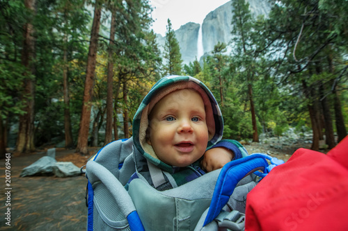 A father with baby son visit Yosemite National Park in Californai, USA