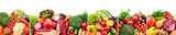 Collage of fruits and vegetables divided by vertical lines on white