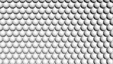 White shiny spheres forming a background pattern. Computer generated 3D illustration.