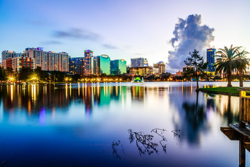 Sunset Lake Eola in Downtown Orlando © Taylor