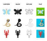 An unrealistic cartoon,black,outline,flat animal icons in set collection for design. Toy animals vector symbol stock web illustration.