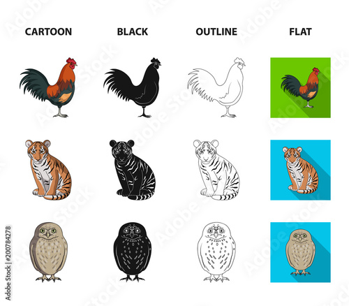 Rooster, tiger, deer, owl and other animals.Animals set collection icons in cartoon,black,outline,flat style vector symbol stock illustration web.