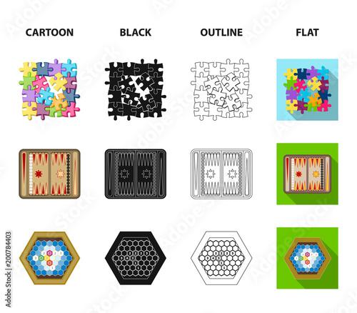 Gra planszowa kreskówka, czarny, zarys, płaskie ikony w zestaw kolekcja dla projektu. Gra i rozrywka wektorowa symbolu zapasu sieci ilustracja.