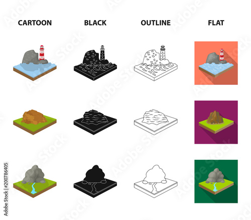 Poster Wit Mountains, rocks and landscape. Relief and mountains set collection icons in cartoon,black,outline,flat style isometric vector symbol stock illustration web.
