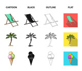 Beach, palm tree, ice cream.Summer vacation set collection icons in cartoon,black,outline,flat style vector symbol stock illustration web. - 200786860
