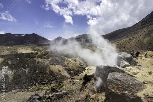 Foto op Plexiglas Grijs Tongariro crossing new zealand day hike vulcano