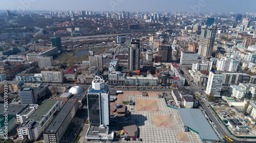 Foto op Plexiglas Kiev Aerial view above Kiev bussines and industry city landscape.