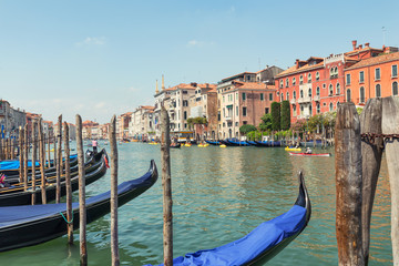 Venice / View of the river and city historical architecture