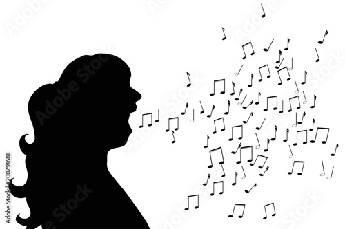 Fototapeta Vector silhouette of woman who sing on white background.