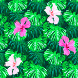 Seamless tropical hand drawn pattern with hibiscus flowers and exotic leaves. - 200793457