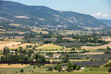 Patchwork of Farmer's fields in valley below Sault, Provence France