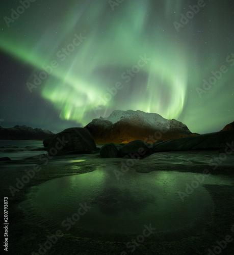 Fotobehang Noorderlicht Aurora borealis in Lofoten, Norway