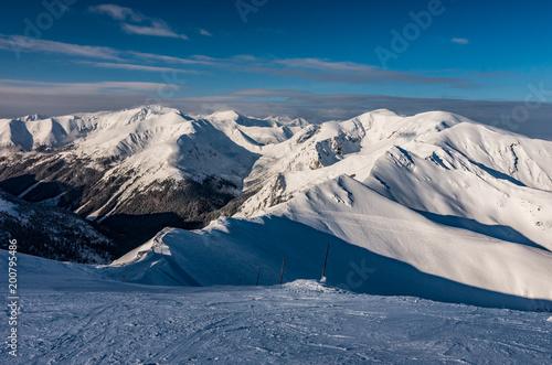 Morning panorama of Tatra Mountains in winter, Poland and Slovakia