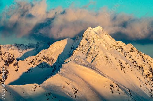 Beautiful winter sunset in Tatra mountains, Swinica mountain, Poland Slovakia