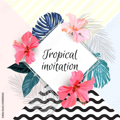 summer-tropical-background-design-with-palm-leaves-and-exotic-red-hibisus-flowers-vector-floral-invitation-and-greeting-card-template