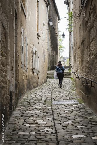Bourges, France, Rue pavées dans le centre historique