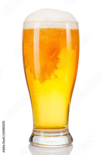 Fototapeta glass of beer isolated on white background.